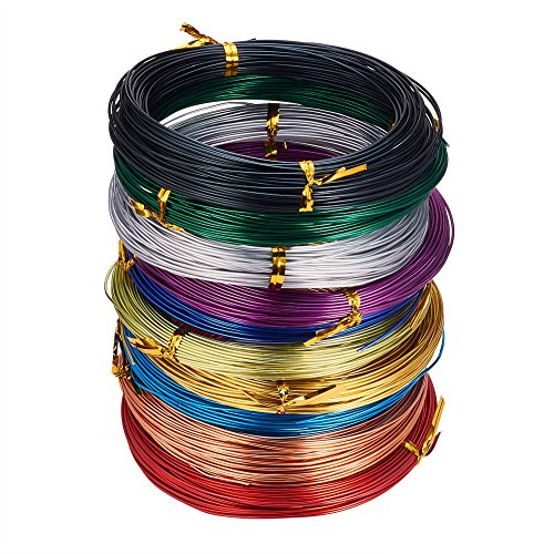 PandaHall Elite 10 Rolls Colored Aluminum Craft Wire 20 Guage Flexible Metal Artistic Floral Jewely Beading Wire 10 Colors for DIY Jewelry Craft Making Each Roll 65 Feet