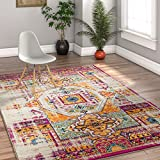 Luxuriance Global Vintage Mamluk Traditional Medallion Distressed Purple Fuchsia Yellow Gold Beige 8x10 (7'10'' x 9'10'') Area Rug