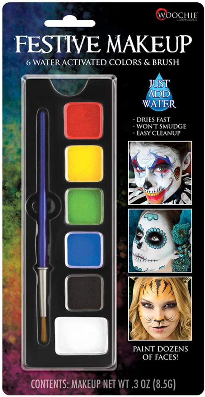 Woochie Water Activated 6-Color Make Up Palette - Professional Quality Halloween Costume Cosmetics - Festive