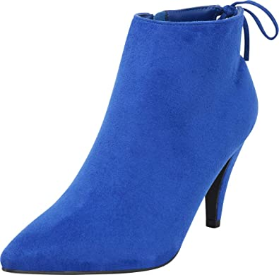 035ed367f274d Cambridge Select Women's Pointed Toe Back Tie Mid Heel Ankle Bootie,5.5 B(M