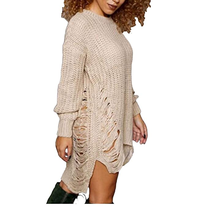 fdf6eb70dcd Highisa Womens Ripped Holes Pullover Sexy Mid Length Tunic Tops Sweater at Amazon  Women s Clothing store