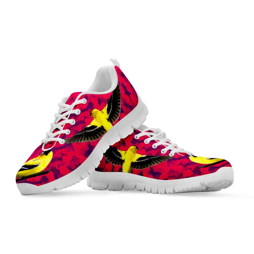 Pawlice Womens Sneakers-American Goldfinch Bird On Red Print Casual Running Shoes