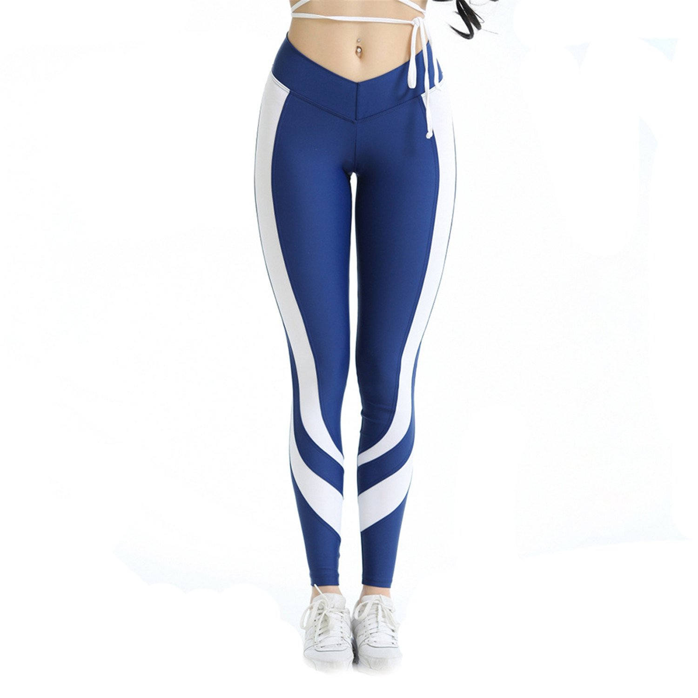 Cheryl Bull Patchwork Women High Waist Push up Workout Hips Love Elasticity Leggings Fitness Blue