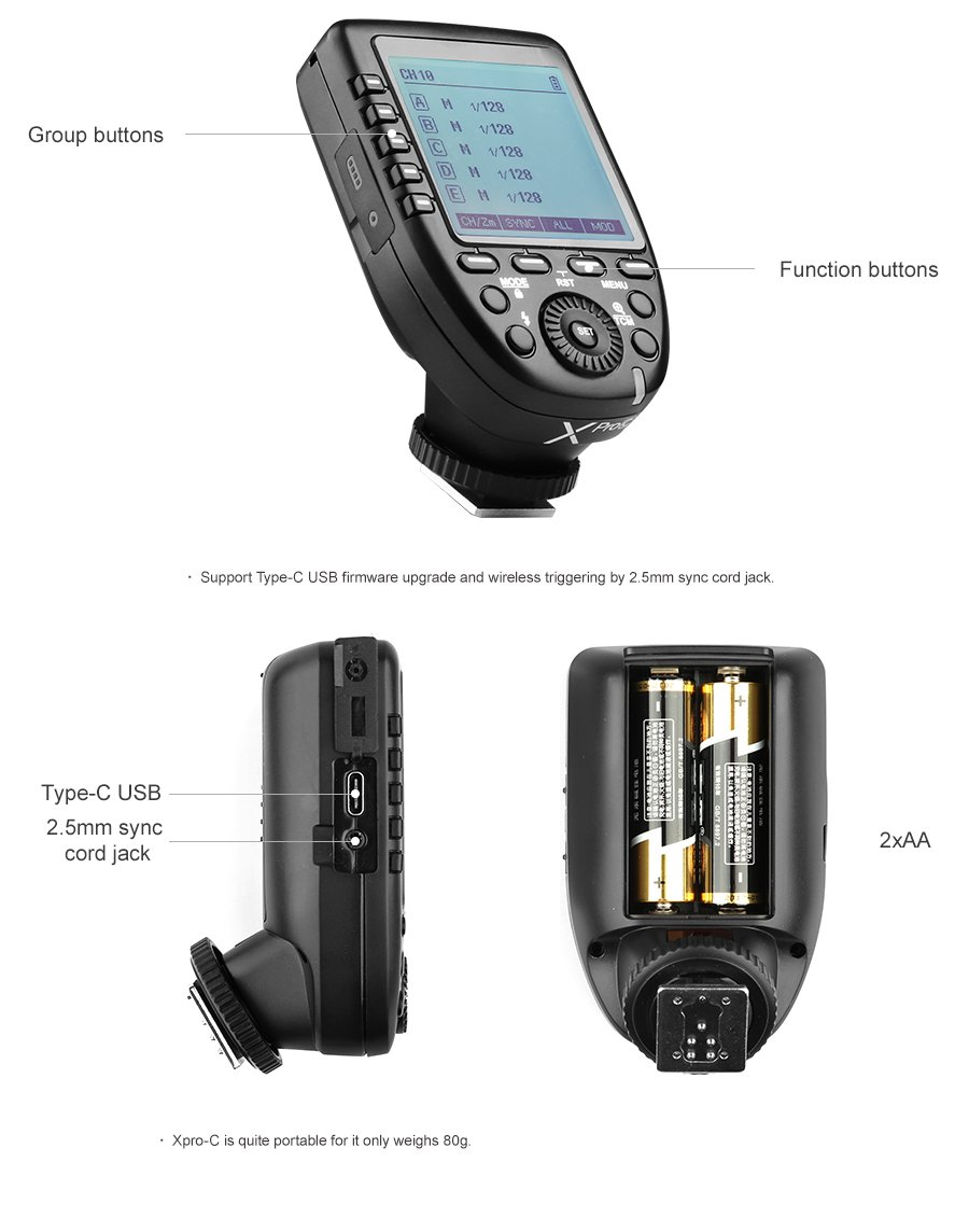 Godox Xpro-C E-TTL II 2.4G X System Wireless Control Remote Trigger with 2X X1R-C Controller Receiver Compatble for Canon Flash by Godox (Image #9)