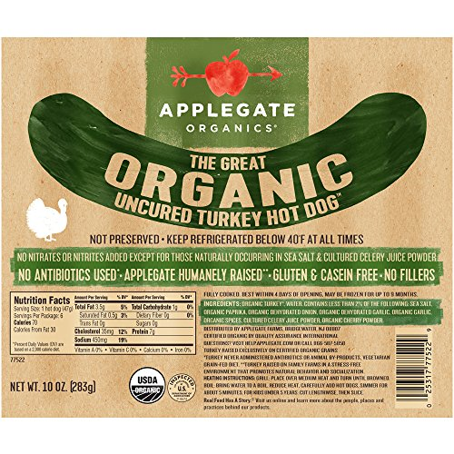 Applegate, The Great Organic Uncured Turkey Hot Dog, 10oz: Amazon