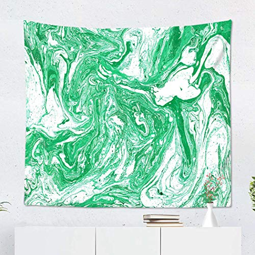 Suklly Tapestry Wall Hanging Polyester Abstract Marble Texture Horizontal Wallpaper Green Home Decor Living Room Bedroom Dorm 50 X 60 Inches Picnic Mat Beach Towel ()