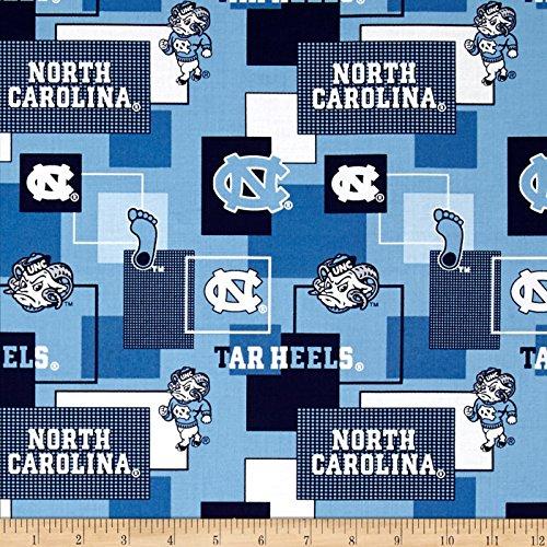Sykel Enterprises Collegiate Cotton Broadcloth University of North Carolina Block Print Blue Fabric by The Yard, ()