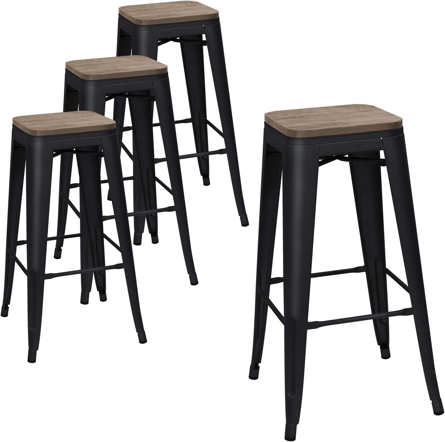 Amazon Com Devoko Metal Bar Stool 30 Indoor Outdoor Stackable Barstools Modern Industrial Square Wood Top Bar Stools Set Of 4 Black Kitchen Dining
