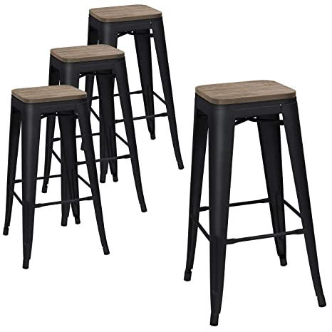 Pleasing Devoko Metal Bar Stool 30 Indoor Outdoor Stackable Barstools Modern Industrial Square Wood Top Bar Stools Set Of 4 Black Onthecornerstone Fun Painted Chair Ideas Images Onthecornerstoneorg