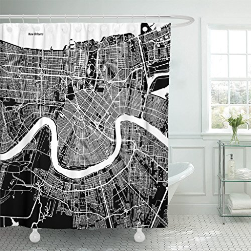 Emvency Shower Curtain Downtown New Orleans Map Artprint Black Landmass White Water and Roads Mississippi River Waterproof Polyester Fabric 72 x 72 inches Set with Hooks - Mississippi Shower Curtain