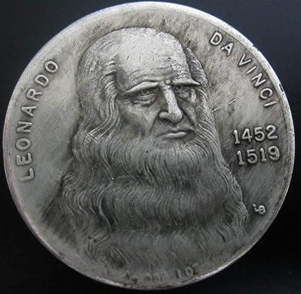 YWJHY Moneda Conmemorativa de Da Vinci 1452-1519 Antiguo dólar de Plata, Plata,Un tamaño: Amazon.es: Deportes y aire libre