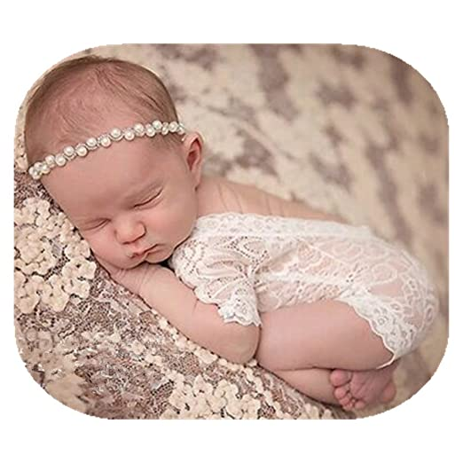 Vedory fashion cute newborn baby girls photography props lace romper photo shoot props outfitsheadband