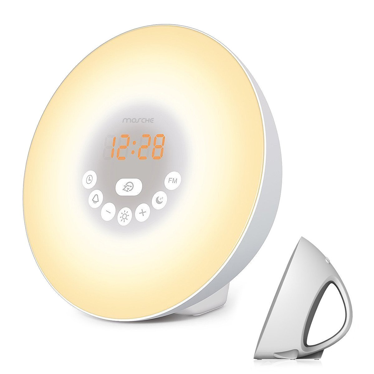 Sunrise Alarm Clock, Wake Up Light with 6 Nature Sounds, FM Radio, Color Light, Bedside Sunrise Simulator (White) MOSCHE