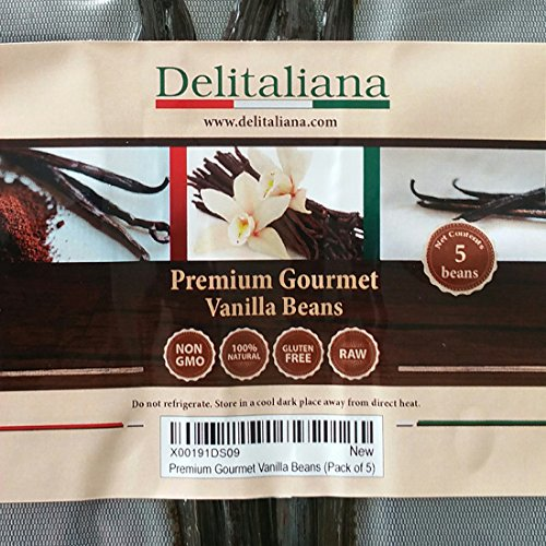 Delitaliana Premium Gourmet Vanilla Beans, Approximately 5~6 Inches (Pack of -