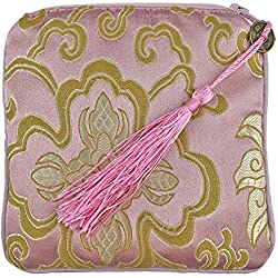 Gizwise Silk Brocade Jewelry Pouch Coin Purse Gift Bag Dice Bag with Zipper (Light pink)