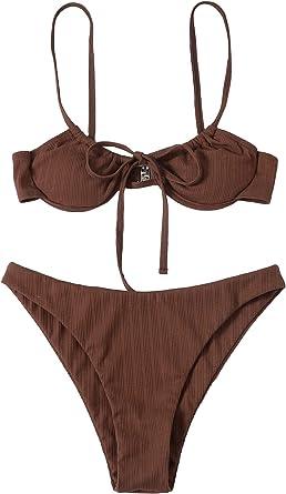 SheIn Women's 2 Piece Swimsuit Tie Underwire Bra and Panty Bikini Set Beach Wear