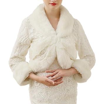 NCJD Abrigo de Invierno cálido Abrigo de Las Mujeres Nupcial de Manga Larga Bufandas Chaqueta estolas