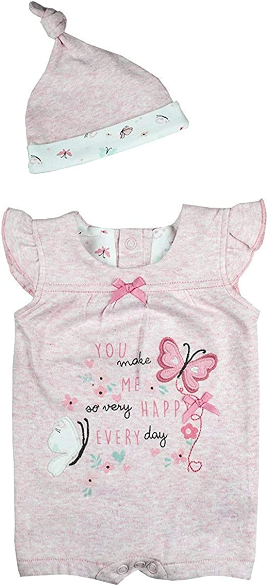 Get Wivvit Girls Baby Make Me Happy Playsuit Romper /& Hat Set Sizes from Tiny Prem Baby to 12 Months