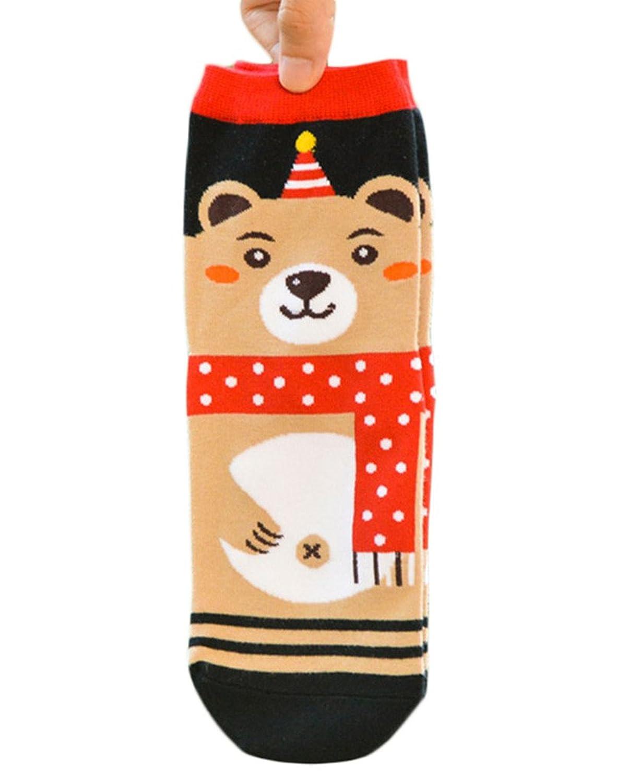 Woo2u Women Christmas Cotton Festival Casual Ankle Socks