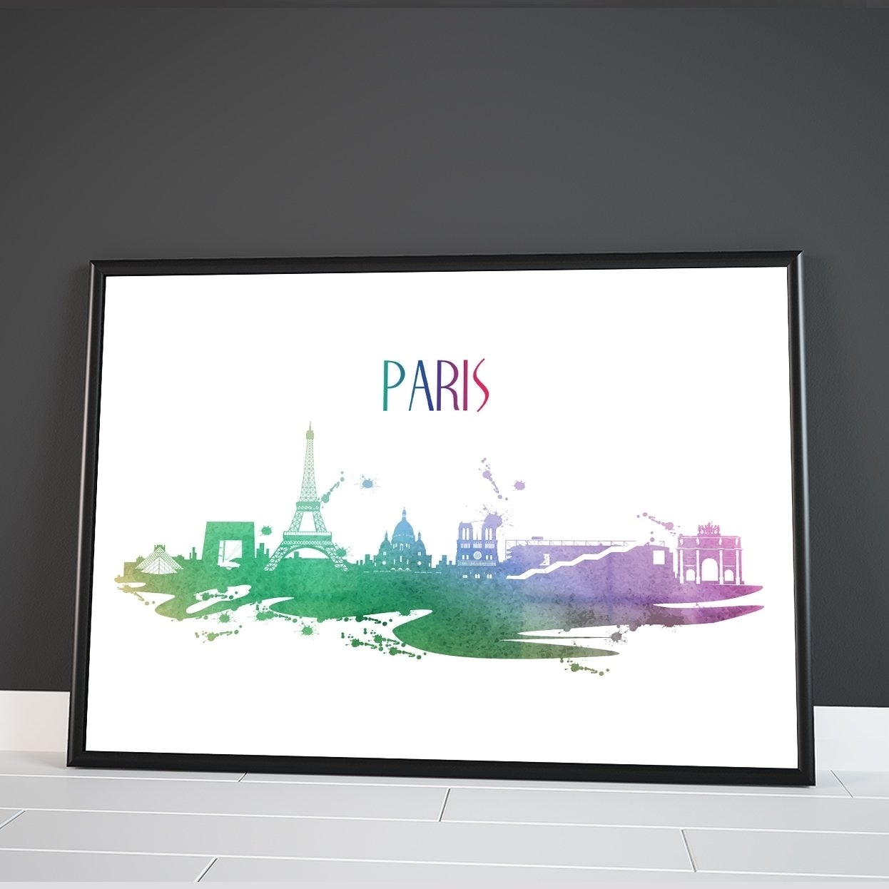 Inspired Walls Paris Skyline di Città del Mondo Watercolour Colourful Wall Dã © Cor Poster Stampa Artistica Inspired Walls®
