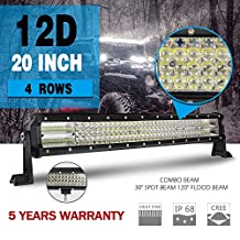 Jiuguang 20 inch 468W 4 Rows 12D Reflector Led Light Bars Combo Beam CREE Chips Off Road High Bright for Jeep SUV Truck ATVs (9643D-20inch)