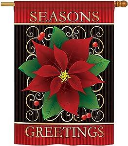 "Breeze Decor - Seasons Greetings Poinsettia Winter - Seasonal Xmas Impressions Decorative Vertical House Flag 28"" x 40"""