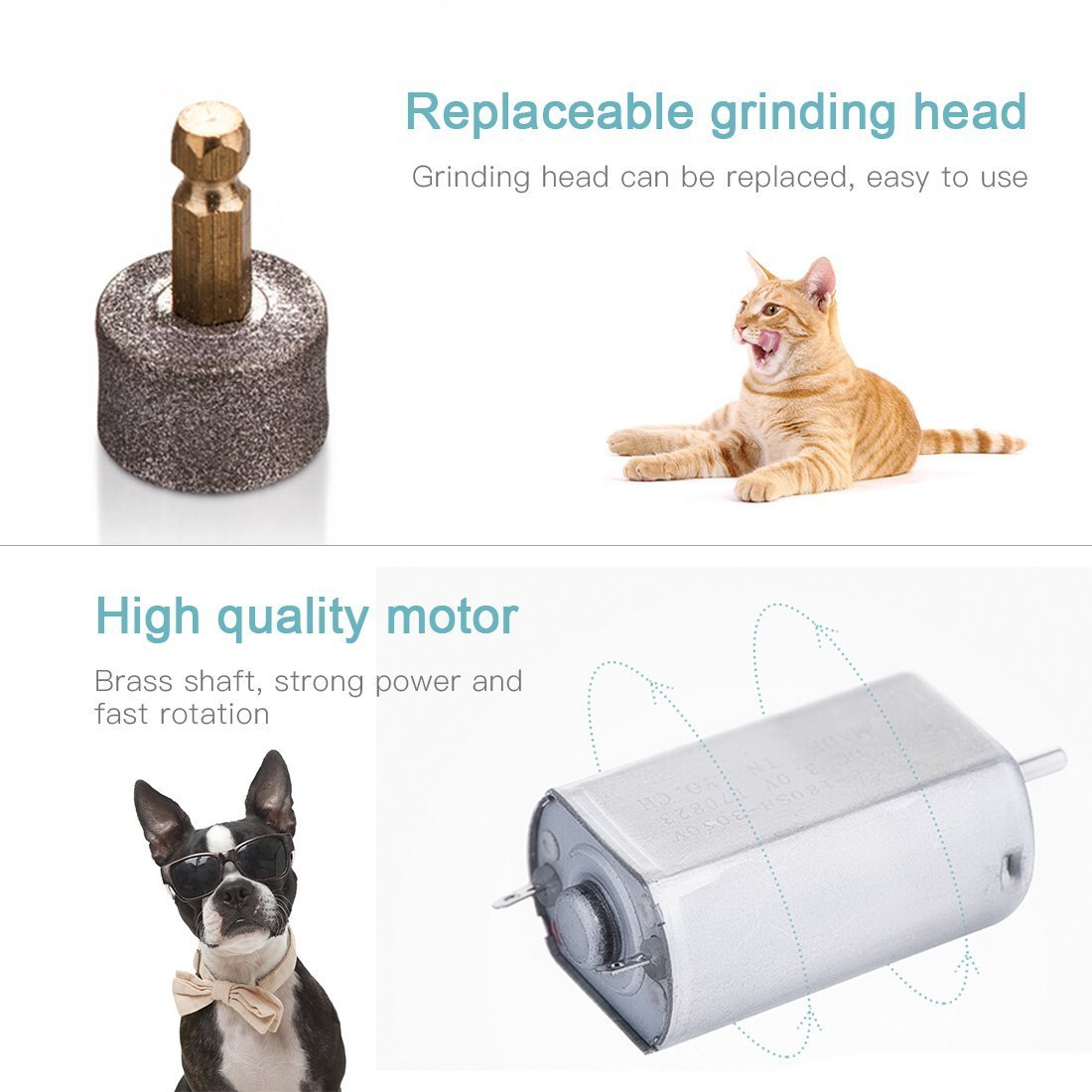 DIGDAN Dog Nail Grinder, Electric Pet Nail Grinder with USB Fast Charging for Gentle Painless Paws Grooming, Portable Low Noise Nail Clippers for Dogs, Cats and Other Animal Paws by DIGDAN (Image #6)