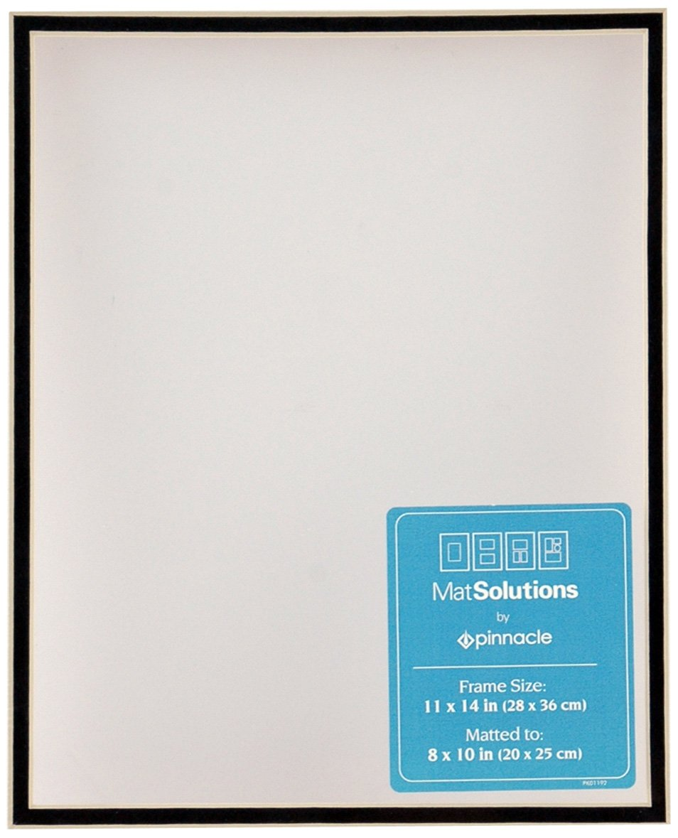 Gallery Solutions White and Black Custom Bevel Cut Double Mat for 11x14 Picture Frame with 8x10 Opening