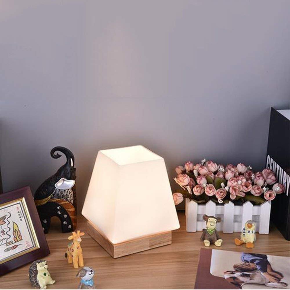 DEED Lampada da tavolo ideale per la lettura - lampada da tavolo decorativa semplice nordica lampada da tavolo moderna in vetro,Interruttore a 3 pulsanti