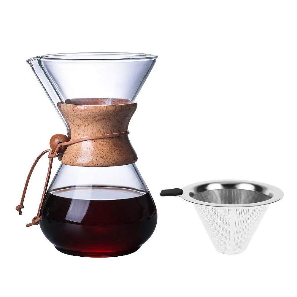 Kapokilly Cafetera Mano De Vidrio Cafetera con Filtro De Vidrio De Alta Temperatura Taza De Cafetera De 400 Ml