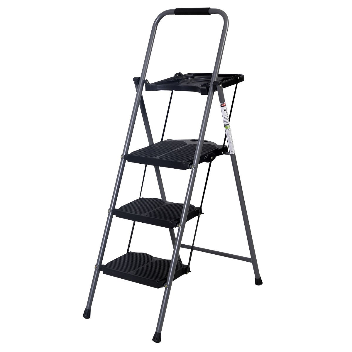 Giantex Hd 3 Step Ladder Platform Folding Stool Lightweight 330 LBS Capacity Space Saving w/Tray by Giantex