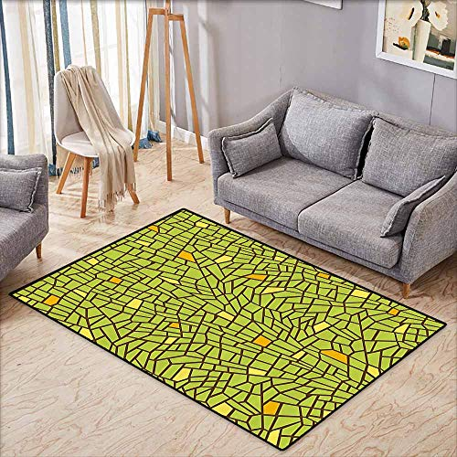 Inner Door Rug Green Conceptual Stained Glass Design Mosaic Pavement Cracked Like Pieces Apple Green Mustard Brown Easy to Clean W4'9 xL3'9