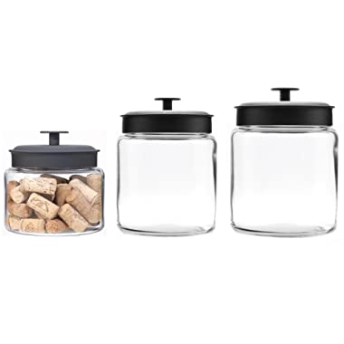 Anchor Hocking Montana Glass Jars with Fresh Seal Lids Canister Set, Black Metal, 3-Piece Set