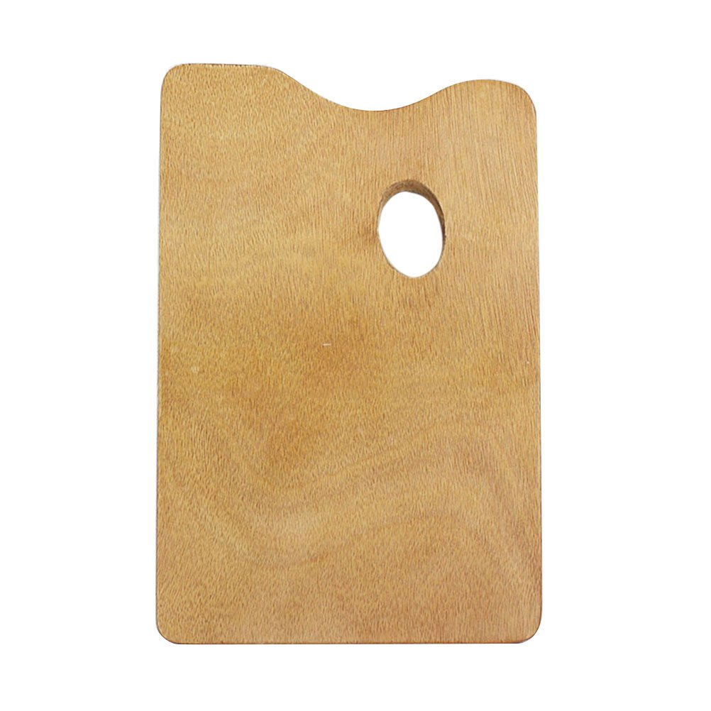 Healifty Wooden Paint Palette Square Oil Painting Palette with Thumb Hole for Acrylic Watercolor Oil and Gouache Paint