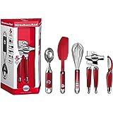 KitchenAid - Set de cuisine 5 pieces: econome, ouvre-boite, fouet, langue de chat et cuillère pour le glacée