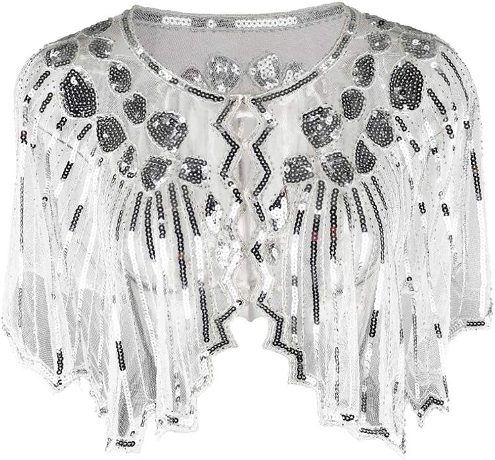 Runyue Bolero Donna Elegante Coprispalle Giacca Corte Paillettes Cardigan Top
