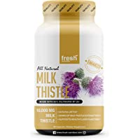 Milk Thistle Capsules - Strongest Available 10,000mg 80% Silymarin - Organic Liver Cleanse & Detox Support Supplement…