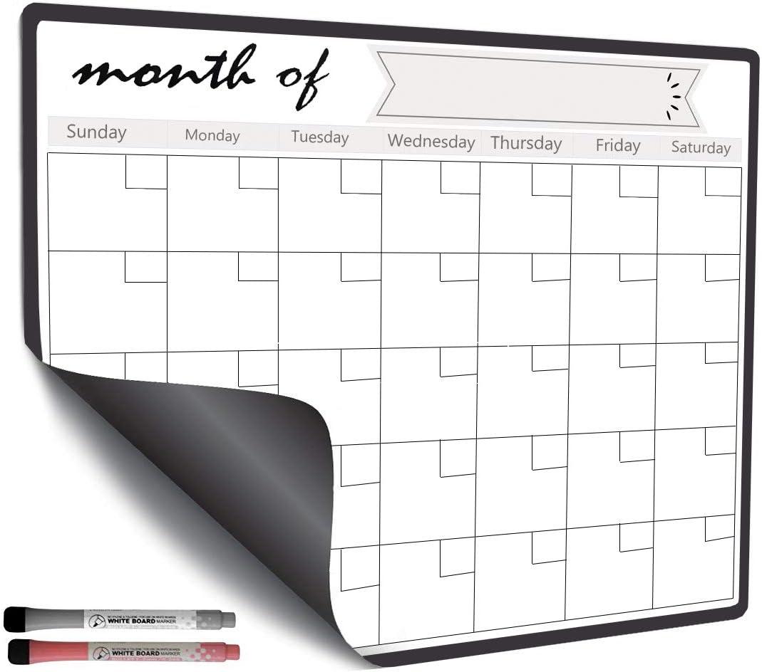 Magnetic Dry Erase Calendar for Refrigerator Fridge, Whiteboard 2021 2020 Monthly Planner with 2 Marker Pen 43 x 33cm