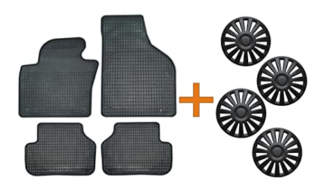 Set de alfombrillas de goma + Tapacubos Luxury Negro 16 para Peugeot