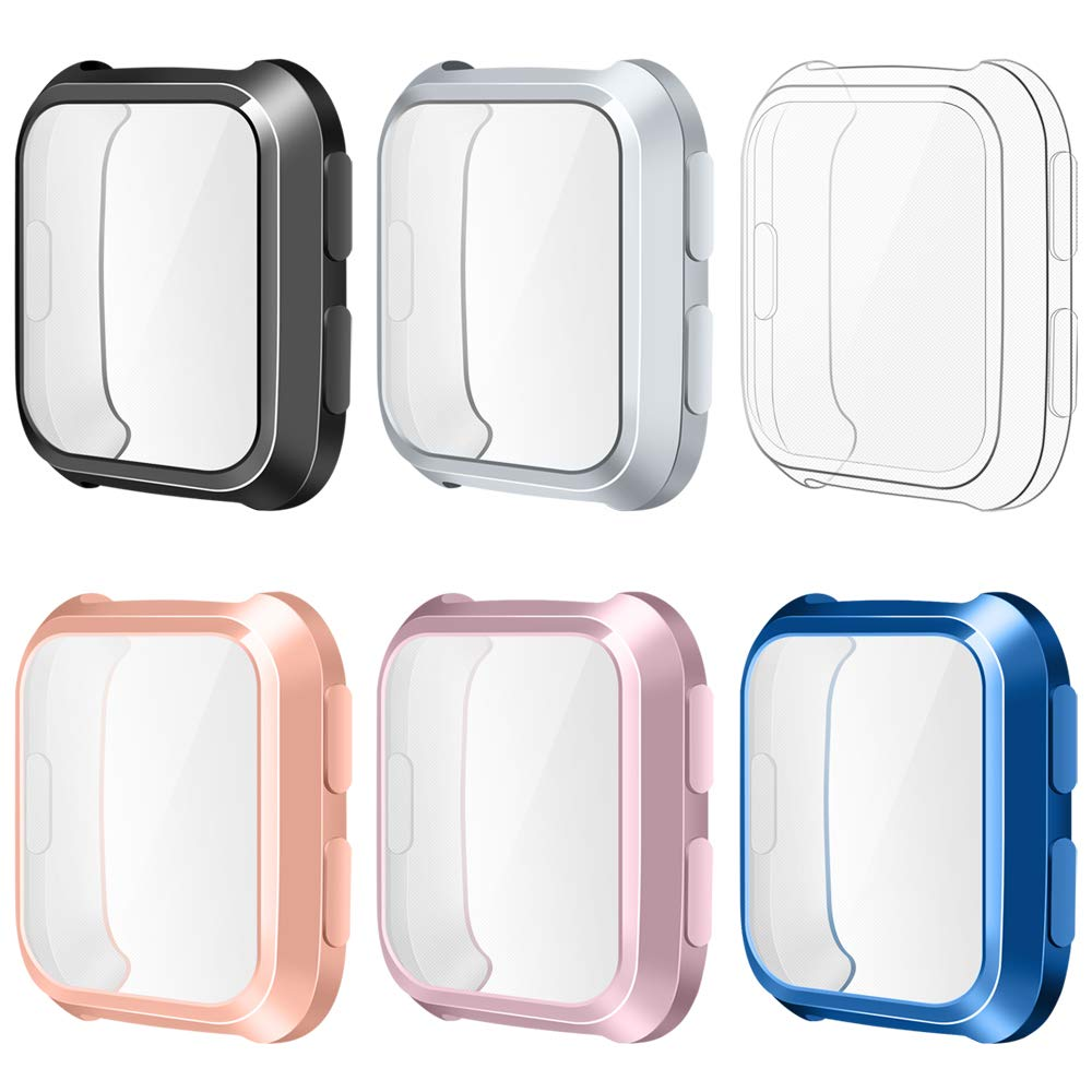 EZCO Compatible Fitbit Versa Screen Protector Case (6-Pack), Soft TPU Plated Bumper Case All-Around Protective Screen Cover Shell Compatible Fitbit Versa Smart Watch (6-Pack)