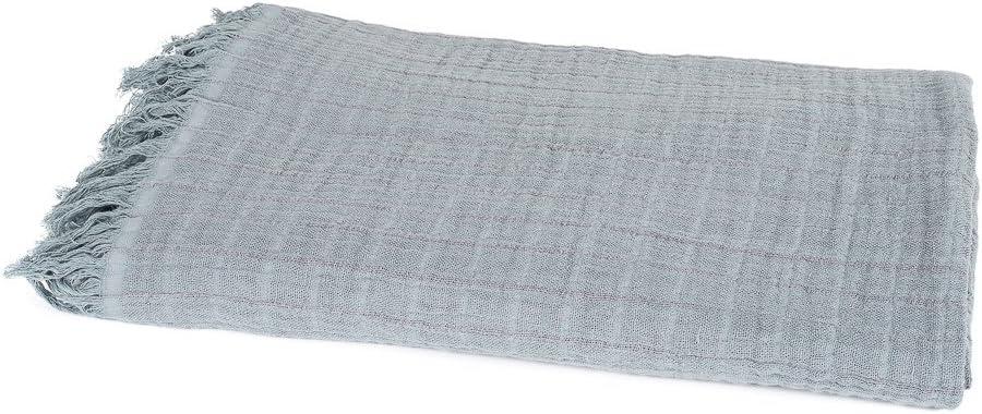 Harmony – Plaid sofá colcha (cama lino y algodón acabado flecos ...