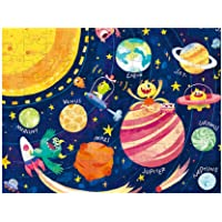 Space Theme Jigsaw Puzzles Glow in The Dark Luminous Puzzle Educational Learning Toy for Toddlers Kids Multicolor 1Set