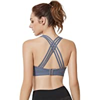 Yvette Woman Criss Cross Back Sports Bras High Impact Full Support Plus Size Strappy Workout Bra for Running Boxing Ball…