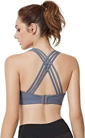 Yvette Woman Criss Cross Back Sports Bras High Impact Full Support Plus Size Strappy Workout Bra for Running Boxing Ball Game