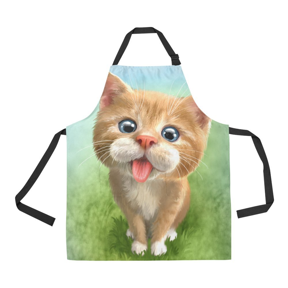 InterestPrint Cute Kitten Cat Apron for Women Men Girls Chef with Pockets, Lovely Little Animal Cat Unisex Adjustable Bib Apron Kitchen for Cooking Baking Painting