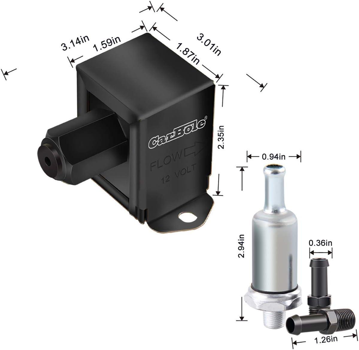 12V 4-7 PSI Niederdruck Inline Kraftstoffpumpe Diesel Benzin Universal HEP02A Elektrische Kraftstoffpumpe 4 PSI 4-7 PSI Messing Heavy-Duty Metall 2,5