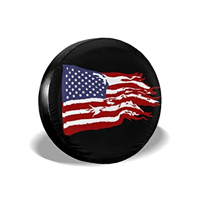 "Dizzy-K Spare Tire Cover American Flag Polyester Waterproof Durable Universal Rv Tire Covers Fit for Trailer, RV, SUV, CRV, Camper 14"" 15"" 16"" 17"" Inch (Black, 14"" Fits for tire Diameter 60-69cm): Automotive"