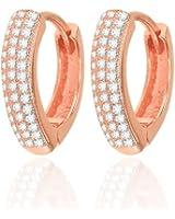 Karisma Modische Damen Creolen Silber 925 Ohrringe Zirkonia Weiss