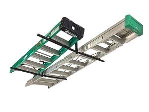 StoreYourBoard Double Ladder Ceiling Rack - Hi-Port 2 Garage Storage and Organization Hanger Mount