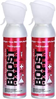 product image for Boost Oxygen Supplemental Oxygen to Go | All-Natural Respiratory Support for Health, Wellness, Performance, Recovery and Altitude (5 Liter Canister, 2 Pack, Pink Grapefruit)